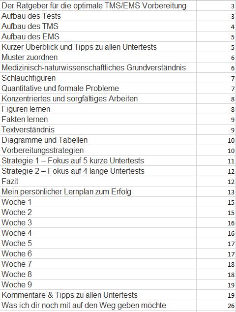 Inhaltsverzeichnis TMS/EMS Helper